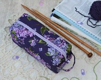 Small knitting tool bag Lilac notions bag Fabric project box bag Crochet notions bag Storage knitting tool Box zipper pouch Crochet supplies