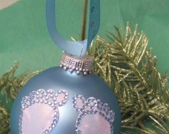 Baby's First Christmas, Baby Feet. Baby Boy Ornament, Boy Ornament, Christmas Ornament, Tree Ornament, Personalized, Custom
