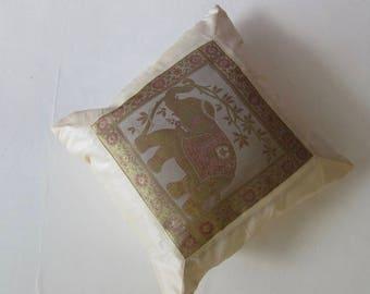 "Indian Cushion Cover Single Elephant Design Beige Colour 16"" x 16"" Bohemian Pillow Case Meditation Yogi Hippie Free UK Shipping"