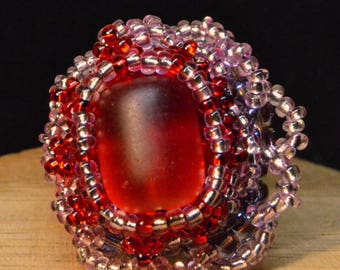 Beaded Ring - Red Sea Glass - Red, Pink, Purple Glass Beads - Tribal