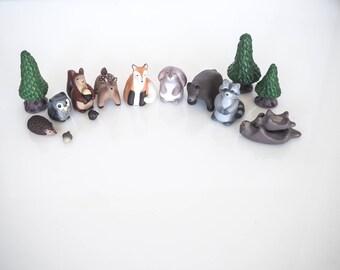Woodland animals set - Woodland decor - Woodland nursery decor - Woodland creatures - Animal art - Christmas stuffers - Kids room decor