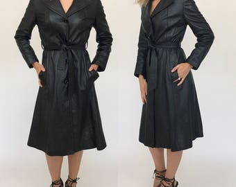 SUMMER SALE Vintage Black Leather 70s Trench Coat Belted, Butter Soft XS