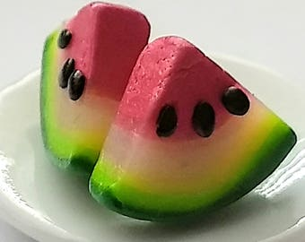 Watermelon Slices Earrings - Miniature Food Jewelry - Inedible Jewelry - Fruit Earrings, Fruit Jewelry, Gifts for Foodies , Watermelon Studs