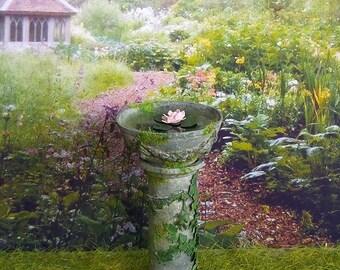 Miniature water basin, bath miniature birds, resin, miniature water lily, 1:12 scale Dollhouse garden decoration