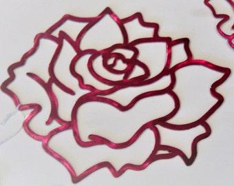 Reflective Rose Wall Art, Aluminum Flower Wall Decor, Lightweight Wall Art, tropical rose, rose wall art, gardenia wall art, lotus wall art