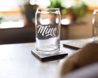 mine - mine drink ware, mine glass, mine beer glass - beer glass - pint glass - mine can glass - etched pint glass - etched glass