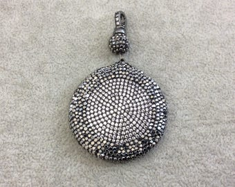 CZ Cubic Zirconia Encrusted Coin/Disc Shaped Pendant with Natural White Shell Inlay on Reverse - Measuring 43mm x 43mm - Sold Individually