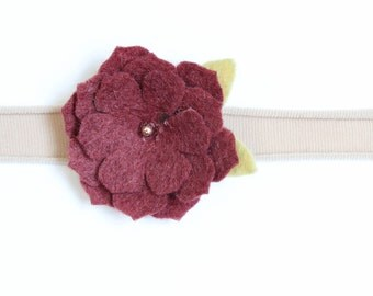 Girls headband-Felt flower headband-Newborn headband-Toddler headband