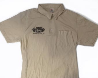 Vintage Ford Dealership Don Sanderson Collared Button Up T Shirt