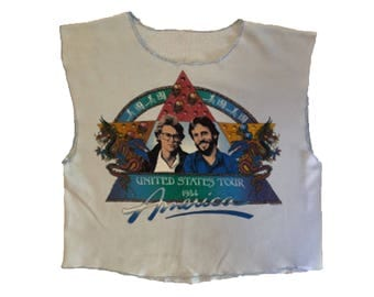 80s Vintage Hall & Oats United States Tour Crop Tank Top