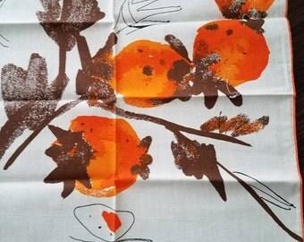 Vintage RETRO Vera Orange White Brown Cotton/Linen Napkins