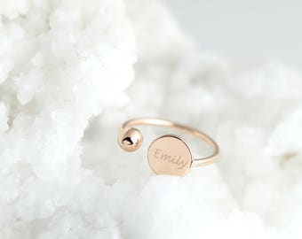 Name Ring Personalized Ring Initial Ring Disc Ring Stacking Ring Engraved Ring Best Friend Ring Adjustable Ring - ROC-B