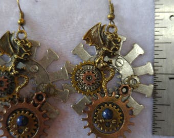 Antique Bronze Dragon on Large Silver Gear Steampunk Inspired Earrings
