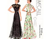 1930s evening dress // vintage sewing pattern reproduction // dinner gown // English and French // PICK YOUR SIZE bust 32 34 36 38 40 42