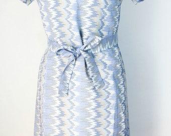 Vintage Dress Blue Dress Blue Tan Dress Abstract Polyester Dress 1960s Shift Dress Mod Dress