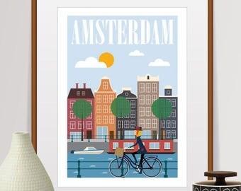 amsterdam print, amsterdam poster, amsterdam, amsterdam art, travel poster, wall art, netherlands, amsterdam skyline, art print, city prints