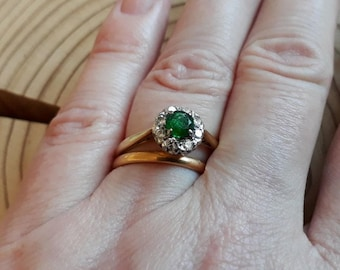 18ct Emerald and Diamond Cluster Ring, Vintage