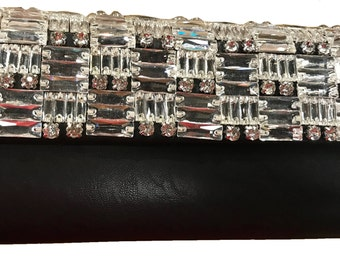 New Black With Clear Crystal Clutch Bag