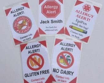 Allergy Alert Tags - Medical Alert Tags - Custom Bag Tags - Buy 4, Get 1 Free!