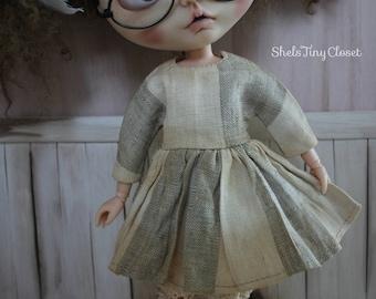 Aged Linen Dress For Blythe - Handmade, tea stained Blythe dress, Cream & Beige dress, long sleeved blythe dress, striped blythe dress.