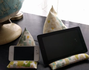 Phone Pillow Stand Rest, Tablet Pillow Holder, Watercolor Wash Print Fabric, Goes with Every Home Decor, Housewarming Gift for Techie Friend