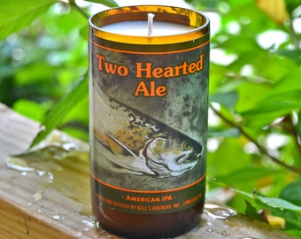 Bell's Two Hearted Ale beer bottle candle made with soy wax