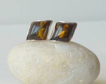 Green Amber Sterling Silver Stud Earrings, Vintage Amber Earrings, Green Genuine Baltic Stud 925, Pierced Baltic, Geometric Amber Jewelry
