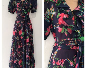 Vintage 70's Size 8 Navy Blue Pink & Green Floral Print Ruffle Trim Belted Boho Maxi Dress