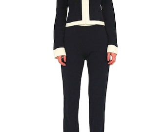MOSCHINO Cheap & Chic Color Block Pant Suit SIZE 44 IT Navy White Vintage Jacket