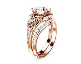 Rose Gold Vintage Engagement Ring Set Moissanite Engagement Rings Vintage Moissanite Ring with Half Eternity Band