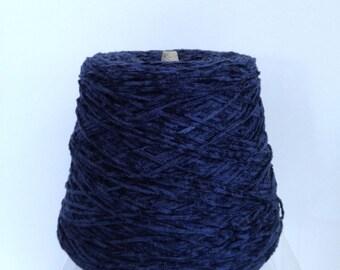 Navy Chenille Yarn Cone for Knitting Machine Yarn Cone Destash Fine Knitting Yarn by Quaker Dyecraft in Dark Navy Blue
