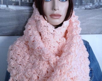 Orange Sherbet Ultimate Orange Scarf for Extreme Winter Weather XXL Cowl Scarf Blanket Stitch Extra Warm Infinity Scarf READY To SHIP