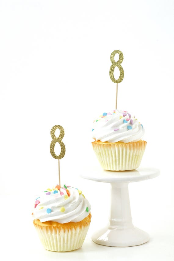 Number 8 Gold Glitter Cupcake Toppers, Number 8 Toothpicks, Gold Party Decor, Food Decoration, Eighth Birthday, 8th Birthday, Eight Decor
