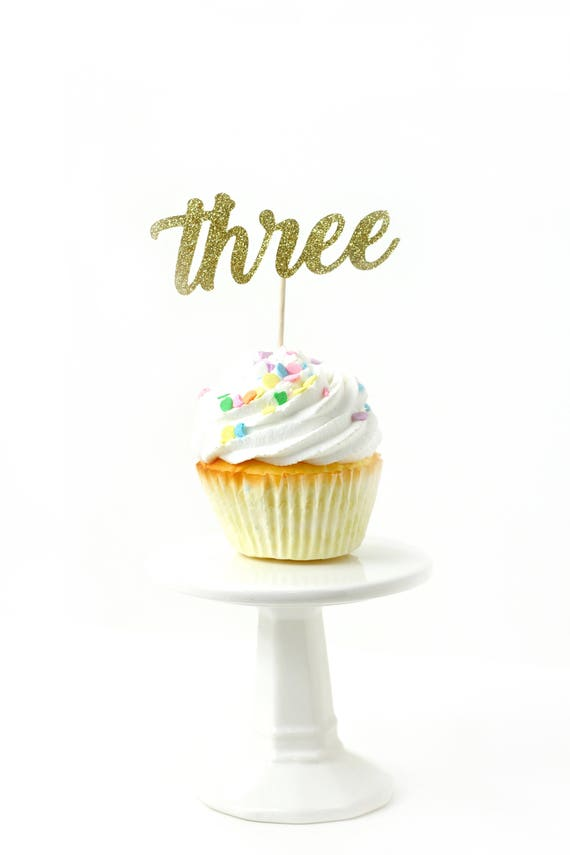 Number Three Gold Glitter Cupcake Toppers, Number Three Toothpicks, Gold Party Decor, Food Decoration, Third Birthday, 3rd Birthday, Three