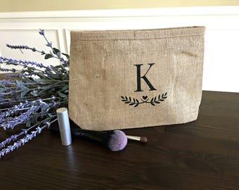 Monogrammed Cosmetic Bags | Custom Bridesmaid Makeup Bags | Monogrammed Make Up Bags | Personalized Make Up Bags for Bridesmaids | Burlap