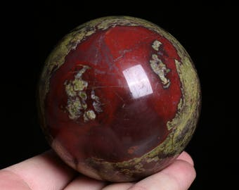 Natural Dragon Blood Stone Jasper Crystal Sphere Ball Healing, Crystals and Minerals , Wiccan Pagan Crystal J890