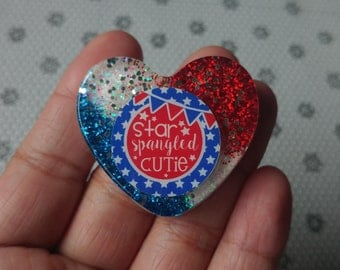 Clearance***Glitter Resin Heart Brooch 4th of July