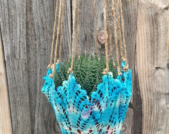Handmade Upcycled Blue and White Hanging Plant Hanger- 1 tree is planted with every purchase