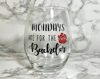Mondays are for the Bachelor Stemless Wine Glass