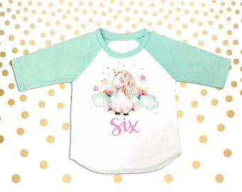 Unicorn 6th Birthday Girl's 6th Birthday Outfit Six Shirt Six Outfit 6 year old shirt 6th Birthday Party Outfit 6th Birthday Shirt 6th Bday