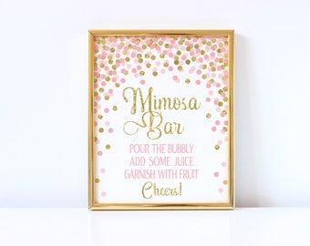 Mimosa Bar Sign Printable Birthday Party Table Sign Bridal Shower Bar Sign Gold And Pink Confetti Mimosa Bar Sign Wedding Sign Pink And Gold