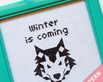 Game of Thrones Cross Stitch Pattern - Winter is coming - Perfect for beginners!