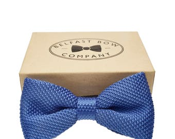 Handmade Knitted Bow Tie in Blue