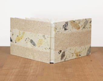 Lay Flat Sketchbook, Art Journal, Landscape Sketchbook, Dot Grid Notebook, Wide Notebook, Leaves Journal, Handmade Book, Guest Book, Beige