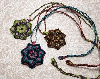 Mandala Necklace Micromacrame, Macrame Necklace Flower Pendant, Colorful Mandala Charm, Boho Girl Yoga Girl Jewelry