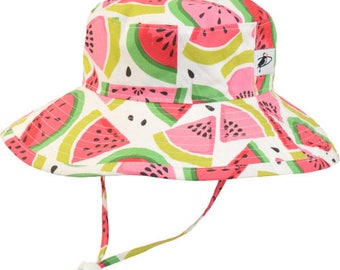 Child's Sun Protection Sunbaby Hat - Cotton Print in Watermelon (6 month, xxs, xs, s, m)