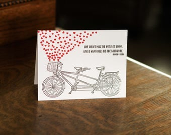 Bicycle Love, letterpress greeting card