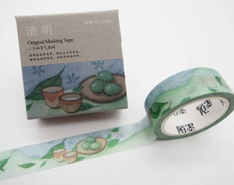 Japanese washi tape, Matcha washi tape, mochi washi tape, dessert washi tape, green tea washi, cute planner tape, kawaii washi tape tea leaf
