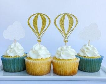 Hot air balloon cake topper | Hot air balloon party | First birthday | First birthday cake topper | Hot air balloon cupcake toppers