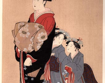 1906, Japanese antique woodblock print, Katsukawa Shundo, from Ukiyoe-ha-gashu.
